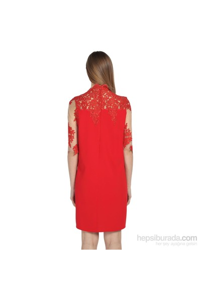 Karahasans Kırmızı Kol Ve Yaka Dantel Detaylı Elbise