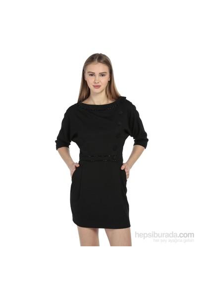 Karahasans Siyah Düğme Detaylı Elbise