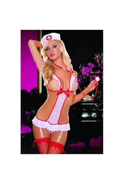Merry See Seksi Hemşire Kız Kostümü Jartiyerli Beyaz+ Çorap