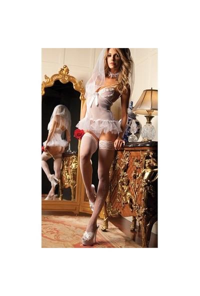 Merry See Seksi Gelin Kız Takım Kostümü+ Çorap