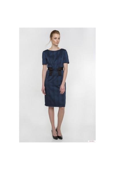 Nelida Beli Fiyonk Tasarımlı Kalem Elbise