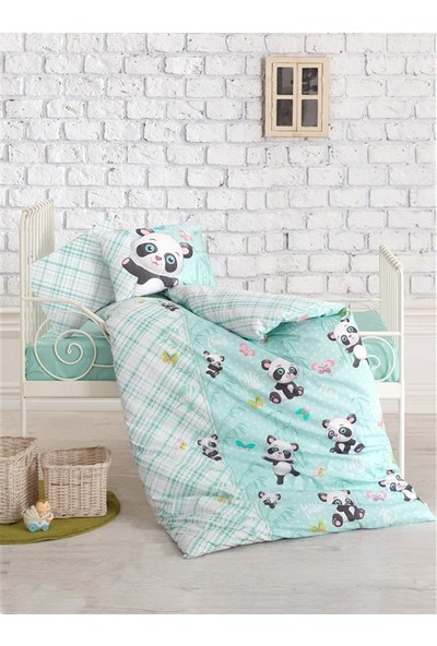 Cotton Box Bebek Nevresim Takımı Panda Mint