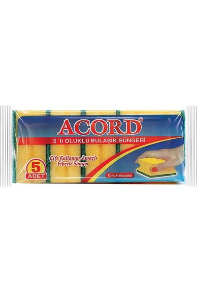 Acord 5'li Oluklu Bulaşık Süngeri