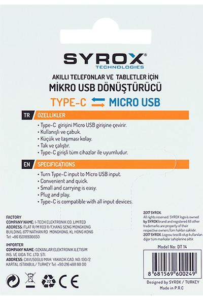 Syrox Micro Usb den Type-C ye Dönüştürücü DT14