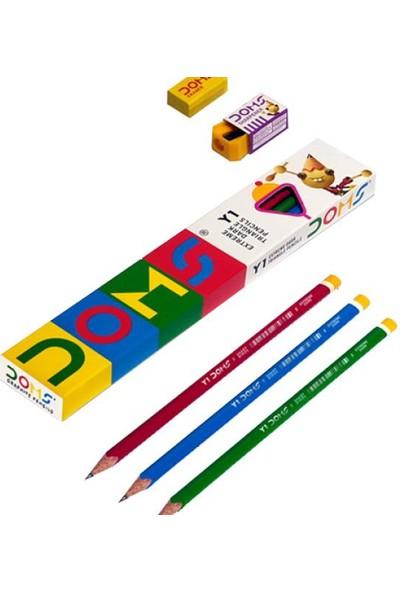 Doms Y1 Kurşun Kalem 12 Li - Silgi + Açacak