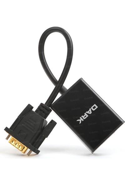 Dark Analog VGA ve SES - Dijital HDMI Aktif Dönüştürücüsü - Siyah (DK-HD-AVGAXHDMI2)