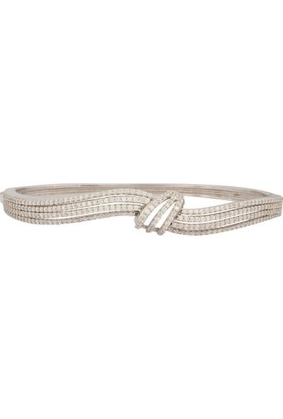Affix Silver Gümüş Avrupa Tasarım Taşlı Düğüm Model Bayan Bilezik
