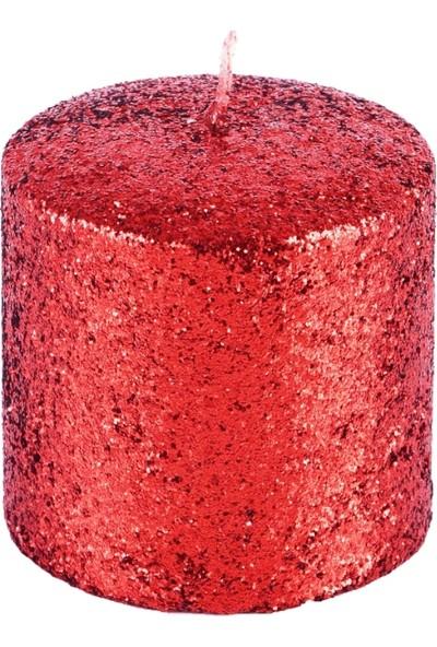 Ubi Home 8x8 cm Simli Kırmızı Mum