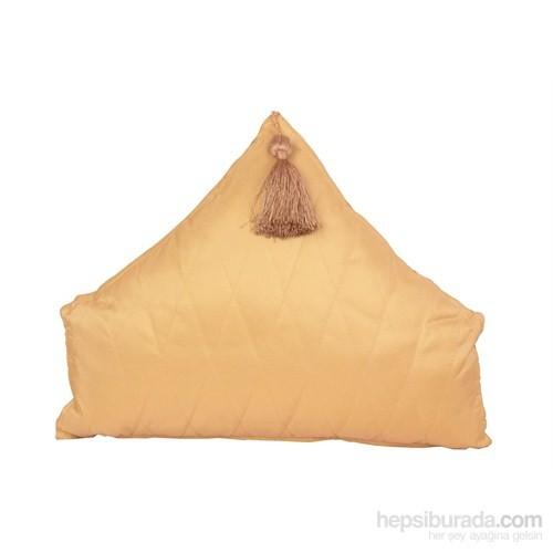 Yastıkminder Tafta Sarı Kapitone Üçgen Püsküllü Dekoratif Yastık