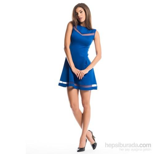 İroni 5948-966 Kadın Elbise Saks Mavisi
