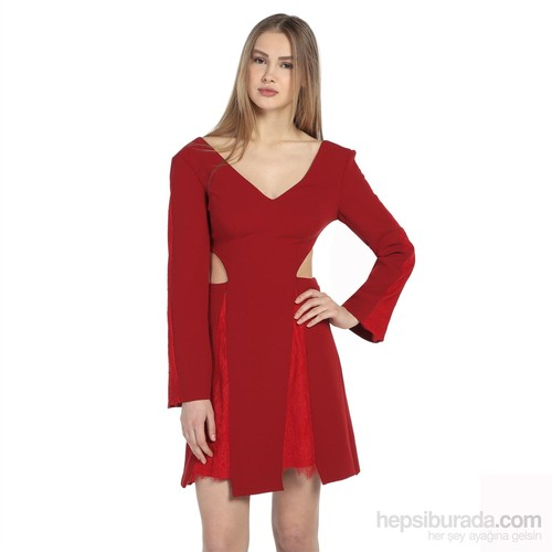 Karahasans Kırmızı Dantel Detaylı Elbise