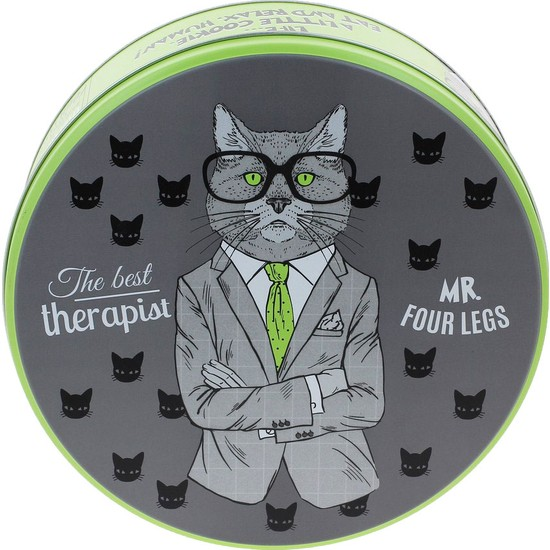 Wuw The Therapist Cat Metal Kurabiye Çikolata Kutusu