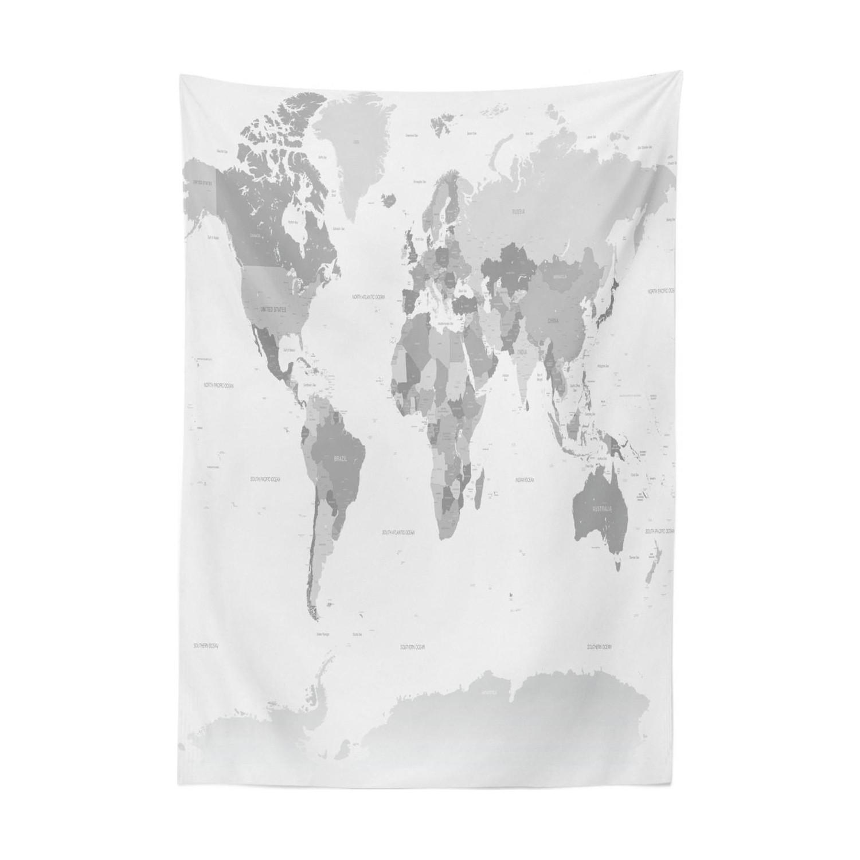 Orange Venue Gri Masa örtüsü Dünya Haritası Temalı Kıta Fiyatı
