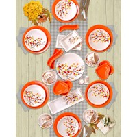 Keramika 40 Parça 6 Kişilik Kahvaltı Seti Turuncu Sonbahar