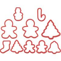 Tantitoni Plastik Kırmızı 10 Parça Yılbaşı Kurabiye Kalıbı