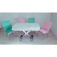 Masa Sandalye Takımı Vavien X Masa Takım Yeşil Pembe