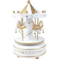 Nostaljik El Yapımı Atlıkarınca Müzik Kutusu Altın Beyaz