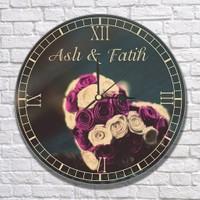 7/24 Hediye Sevgiliye Hediye - Çiçek Temalı İsme Özel Duvar Saati