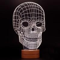 7/24 Hediye Dekoratif Kurukafa 3D Led Lamba Gece Lambası