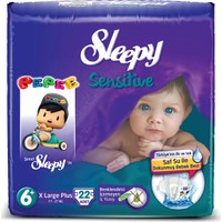 Sleepy Sensitive Bebek Bezi Pepee Plus 6+ Beden 22 Adet