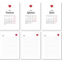 Kalp Tasarımlı Masa Takvimi 2018