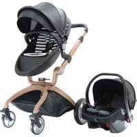 Hotmom Travel Sistem Bebek Arabası Ana Kucaklı Siyah Rose Kasa
