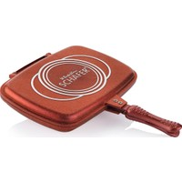 Schafer Granit Gloria Grill Pan Çift Taraflı Tava Kırmızı 32 cm