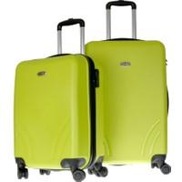 TUTQN Kırılmaz Plastik Bavul 2'Li Valiz Set %100 PP Yeşil