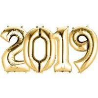 Pandoli 2019 Yılı Rakamlı Folyo Balon Altın Sarısı Renk
