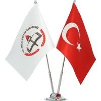 Gönder Bayrak Milli Eğitim Bakanlığı İkili Masa Bayrağı ( Krom Direkli )