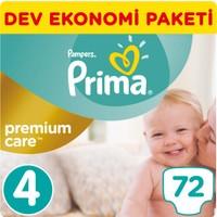 Prima Bebek Bezi Premium Care 4 Beden Maxi Dev Ekonomi Paketi 72 Adet