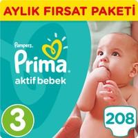 Prima Bebek Bezi Aktif Bebek 3 Beden Midi Aylık Fırsat Paketi Paket 208 Adet