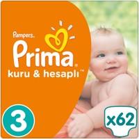 Prima Bebek Bezi Kuru ve Hesaplı 3 Beden Midi Mega Paket 62 Adet