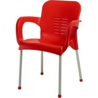 Plastico Aliminyum Ayaklı Plastik Kollu Sandalye Kırmızı