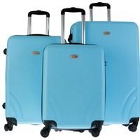 TUTQN Kırılmaz Plastik Bavul 3'Lü Valiz Set %100 PP Turkuaz