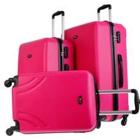 TUTQN Kırılmaz Plastik Bavul 3'Lü Valiz Set %100 PP Pembe