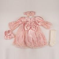 Pugi Baby Somon Etek Dantelli Kız Bebek Mevlüt Takımı
