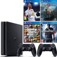 Sony Ps4 Slim 500Gb Konsol + Fifa 18 + God Of War 4 + Gta 5 + Uncharted 4