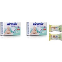Vip Baby Active&Soft 4 Numara Maxi 64 Adet Bebek Bezi + Islak Mendil