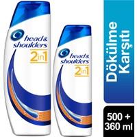 Head & Shoulders 2'si 1 Arada Şampuan Erkeklere Özel Saç Dökümelerine Karşı 2'li Paket (500 ml + 360 ml)
