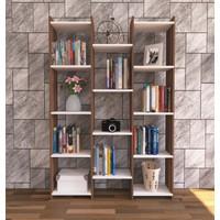 Nur Mobilya Alisa Modern Kitaplık Ceviz-Beyaz