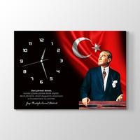 TabloShop - Atatürk Sözlü Kanvas Tablo Saat - 45 x 30 Cm