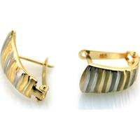 Kuyumcunuz Altın Lazerli İki Renkli Küpe (14 Ayar)