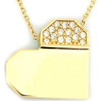 Kuyumcunuz Tasarım Taşlı Altın Kalp Kolye (14 Ayar)