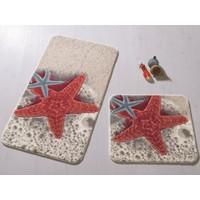 Confetti Starfısh 2'Li Set 57X100 50X57 Kırmızı Oymalı Halı