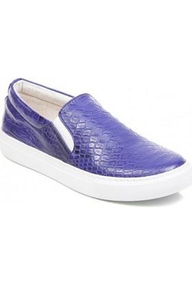 Deristudio Cnk3250 Mavi Timsah Baskı Kadın Günlük Ayakkabı