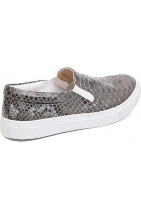 Deristudio Cnk3250 Gri Timsah Baskı Kadın Günlük Ayakkabı
