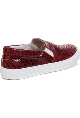 Deristudio Cnk3250 Bordo Yılan Kadın Günlük Ayakkabı