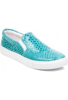 Deristudio Cnk3250 Turkuaz Timsah Baskı Kadın Günlük Ayakkabı