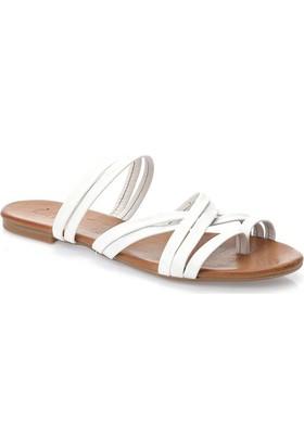 Deristudio Yb9050 Beyaz Kadın Sandalet